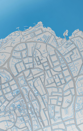 featureless: coast low poly city top view. 3d rendering