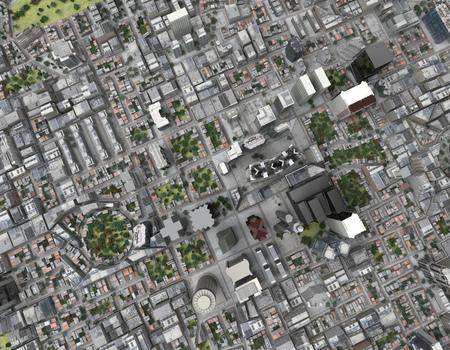 City top view 3d rendering