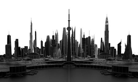 futuristic city: Black futuristic city 3d rendering
