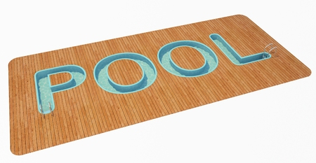 text 3d: swimming pool in the form of text. 3d rendering