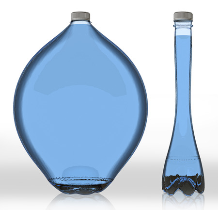 potbellied: thick and thin with water bottle. 3d rendering