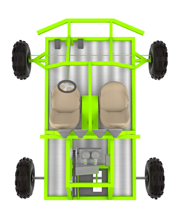 buggy: buggy car isolated on white top view 3d rendering