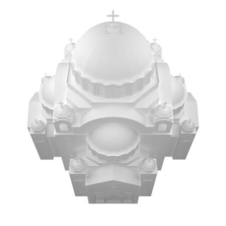 byzantine: white church view from above. 3d rendering