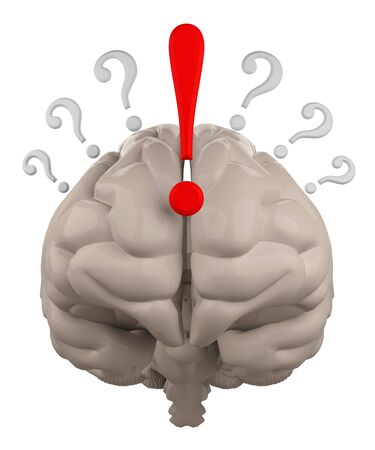 exclamation point: brain with question mark and Exclamation point 3d rendering