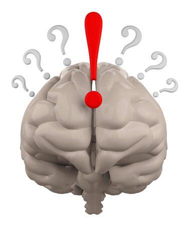 point exclamation: cerveau avec interrogation et Exclamation point de rendu 3d Banque d'images