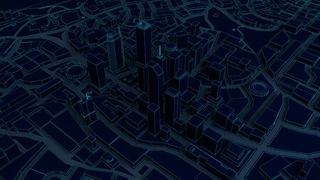 featureless: dark low poly city views from above. 3d rendering