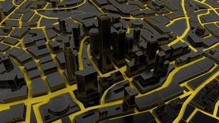 featureless: black low poly city views from above. 3d rendering Stock Photo