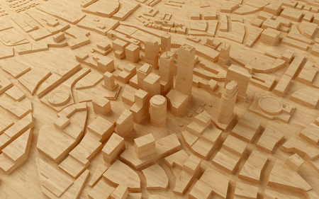 featureless: wood low poly city views from above. 3d rendering Stock Photo