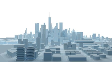 low poly modern wireframe city. 3d rendering