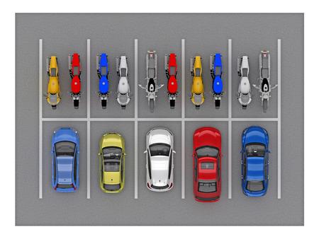 駐車場の車や自転車の平面図。3 d レンダリング 写真素材