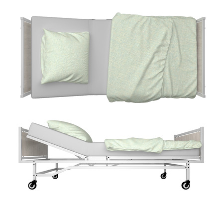 Hospital Bed isolated on white. 3d rendering