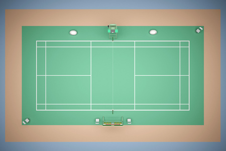 Tennis court top view with inventory. 3d rendering Stock Photo