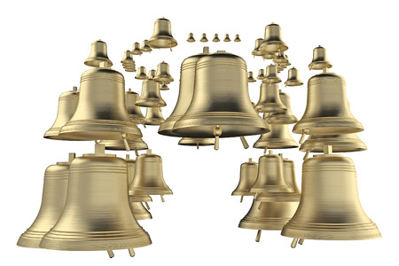 group bronze bells isolated on white. 3d rendering
