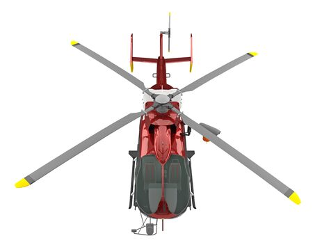 rescue helicopter view above isolated on white. 3d rendering