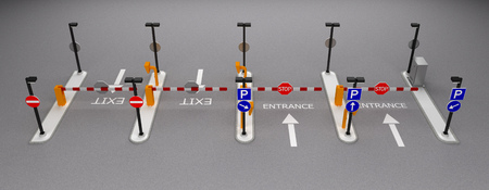 road barrier point row element 3d rendering Stock Photo