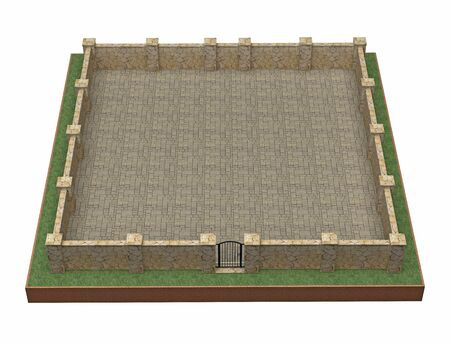 part of land with stone fence. 3d rendering Stock fotó