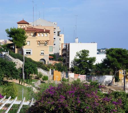 summer daylight Tarragona spain architecture with garden