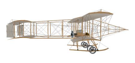 Primo aeroplano dell'inventore isolato su bianco. Rendering 3D Archivio Fotografico - 78346450