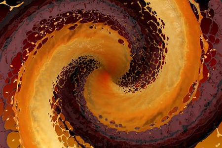 maelstrom of colored splash liquid. 3d rendering