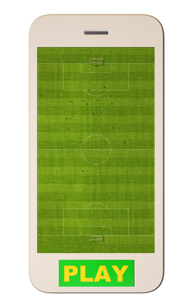 smart goals: Soccer field on the mobile phone screen isolated on white. 3d rendering
