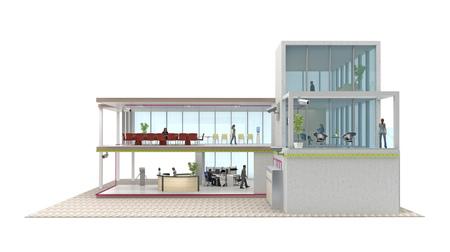세그먼트 사무실 건물 장면 전환에 격리 된 흰색. 3 차원 렌더링