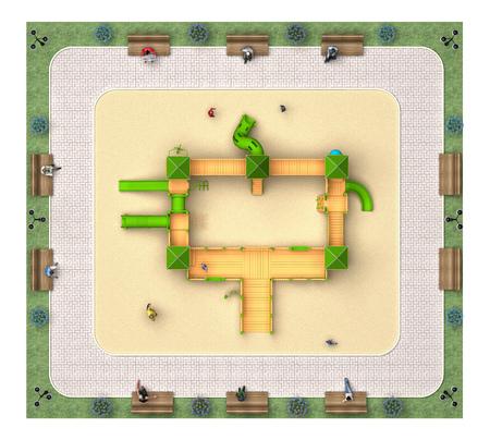 accomplishment: empty children playground top view. 3d rendering