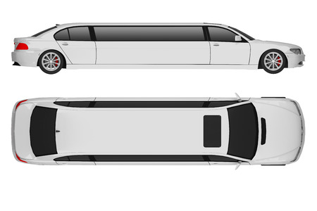 limousine geïsoleerd op witte bovenkant en zijaanzicht. 3D-weergave Stockfoto
