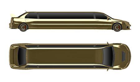 Gouden limousine geïsoleerd op witte bovenkant en zijaanzicht. 3D-weergave Stockfoto