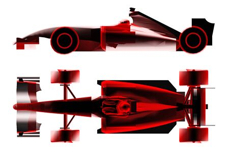 car speed: race car formula x-ray isolated on white. 3d rendering