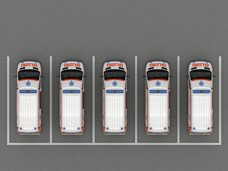 the Ambulance car parking top view. 3d rendering