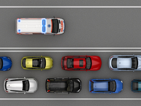 Empty lane for an ambulance top view. 3d rendering