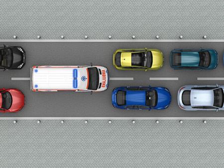 Ambulance car in traffic jam top view. 3d rendering