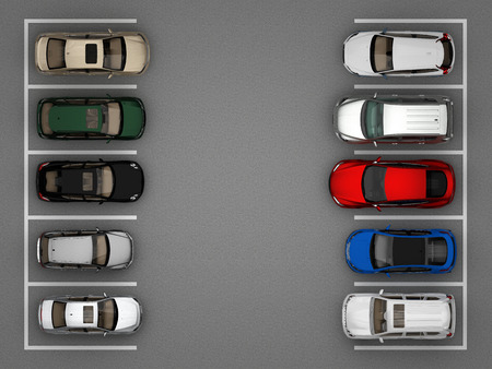 full car parking top view. 3d rendering
