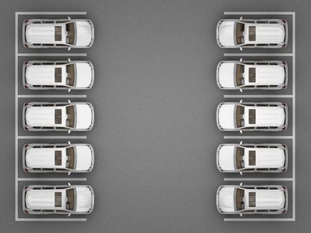 흰색 지프 상위 뷰 주차. 3 차원 렌더링 스톡 콘텐츠