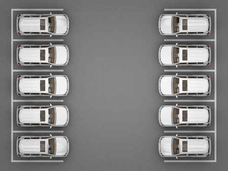 Parking of white jeeps top view. 3d rendering