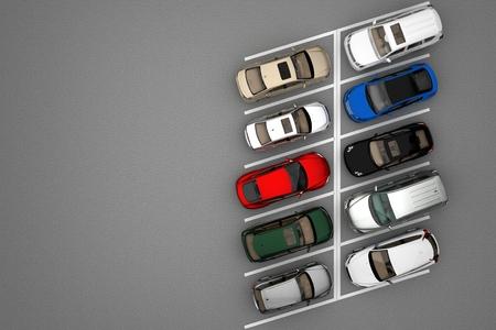 Hintergrund mit Parkplatz auf Draufsicht. 3D-Rendering