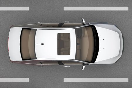 one car on the road from top view. 3d rendering Фото со стока