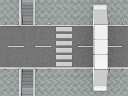 options for crossing the road top view. 3d rendering