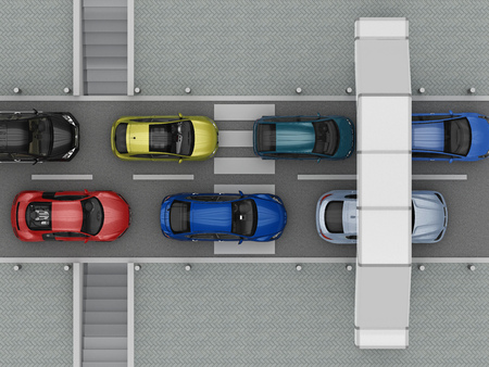 ways for crossing the road top view. 3d rendering Stock fotó
