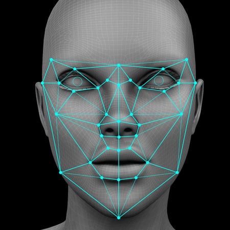 reconocimiento facial biométrico sin pelo. Representación 3D