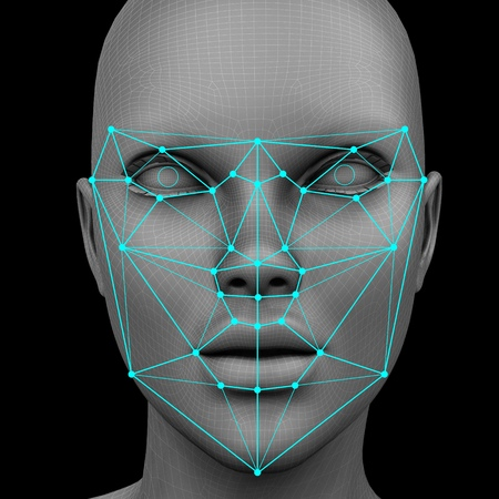 biometric facial recognition without hair. 3d rendering