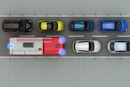 fire truck is in traffic jam top view. 3d rendering
