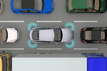 흐름 상단보기에서 거리 센서와 자동차입니다. 3 차원 렌더링 스톡 콘텐츠
