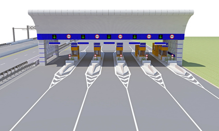empty checkpoint on the road. 3d rendering Banque d'images