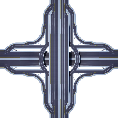 multi-level road junction from above view isolated on white. 3d rendering 版權商用圖片