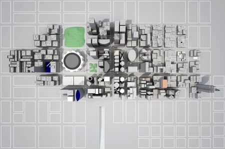 construction of a new city from above view. 3d rendering