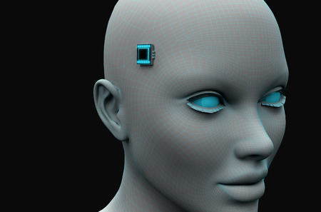 head of a woman with an electronic chip on her temples. 3d rendering
