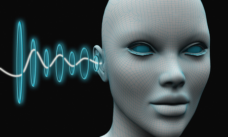 Sound waves penetrate into the ear of a person's head. 3d rendering Stock Photo - 98545547
