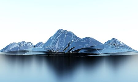 Wireframe low poly landscape mountains. 3d rendering