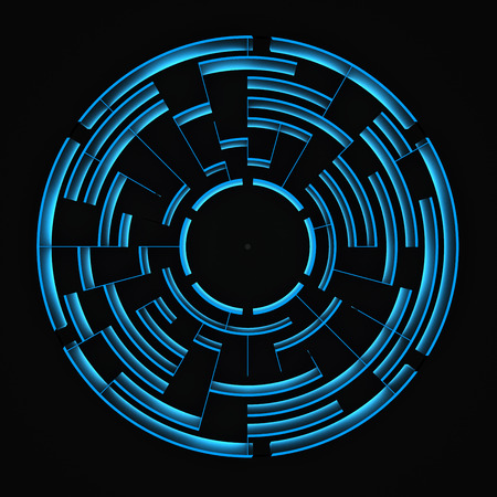 round blue labyrinth on a black background. 3d rendering